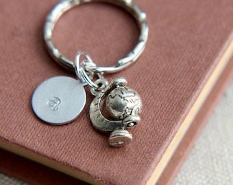 Globe Keychain, Globe Keyring, Bag accessory, Travel keychain, Monogram Keychain, Personalized Initial Keychain, Gift for him, Gift for her