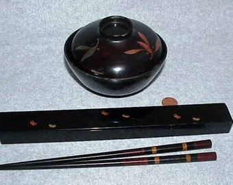 Antique and Vintage Japanese Black Lacquered Rice Bowl and Chopsticks in a Butterfly Case