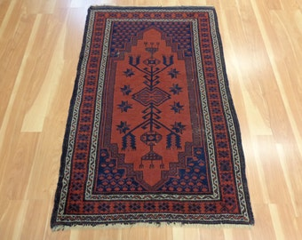 Vintage Turkish Rug Tribal Oriental Rug 2' 9 x 4' 5 Burgundy Bergama
