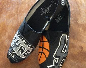 San Antonio Spurs Hand Painted Canvas Shoes