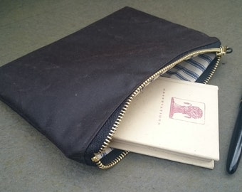 Brown Waxed Canvas Pouch // Case // Wallet // Clutch