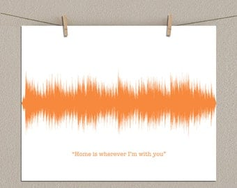 "11x14 Song Lyric Sound Wave Art - Your Favorite Song Lyrics, Love Song (Ex. ""Home is wherever I'm with you"" by Edward Sharpe) - Paper Print"
