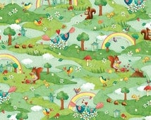 Rainbow Woodland by Red Rooster Cotton Fabric,Fast Shipping CH213