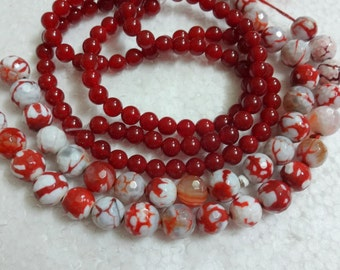 Gemstone Beads,Maroon  Round Ball Beads - Assorted Loose Beads/Mixed Beads