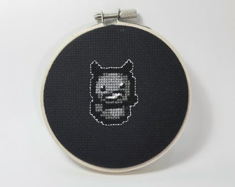 "Dark Bum! The Binding of Isaac-4"" cross stitch wall hanging"