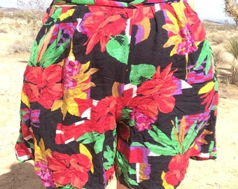 Vintage High Waisted 80s Rayon Floral Resort Shorts - As-Is
