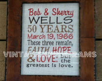 50th Wedding Anniversary Gift Signs Embroidered Burlap Signs Bridal Shower Gift Established Signs Faith Hope Love