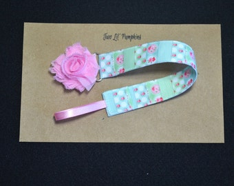 Mint, Aqua, and Pink Flower Universal Pacifier Clip For Baby Girl With Shabby Flower - Baby Girl Paci Clip