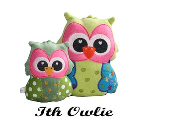ith stuffed animal-stuffed owl pattern-stuffie embroidery