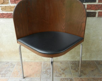 Mod Curved Wood and Metal Chair, Desk Chair, Dinette Chair, Living Room Chair, Vanity Chair, Vanity Seat