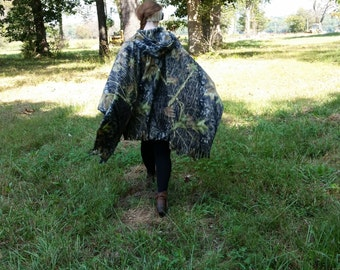 Hooded Poncho, Camouflauge Hooded Cape