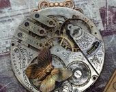 Elgin Steampunk Necklace with butterfly, pocket watch necklace Handcrafted artistic Steampunk jewelry -The Victorian Magpie