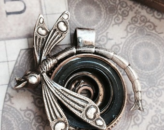 dragonfly Steampunk mainspring necklace  handcrafted artisan jewelry