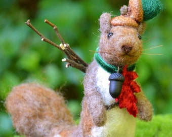 Squirrel Woodsman one of a kind needle felted sculpture