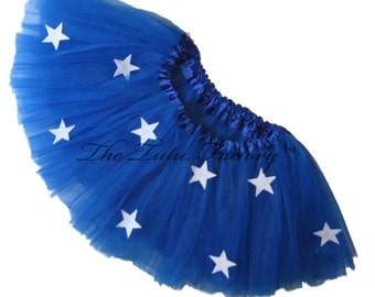 Super Hero Tutu . Royal Blue Tutu with Stars or Pick Another Color . Girls Teen Adult Plus SIze Short