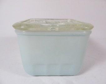 Mid Century Pale Ice Blue  Refrigerator Dish
