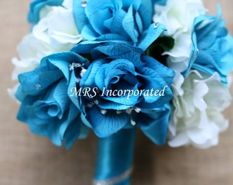 Malibu Blue & Ivory Bouquet, Bridal Bouquet