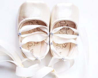 baby shoes, toddler shoes, ballet flats, Pearl Color Punch Ballet Flats