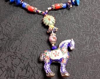 Boho horse pendant necklace - free shipping