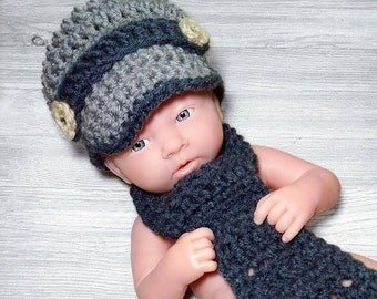 Newborn Crochet Hat and Tie Baby Boy Hat and Tie Newsboy Hat and Tie Outfit Pageboy Hat Necktie Newborn Photo prop
