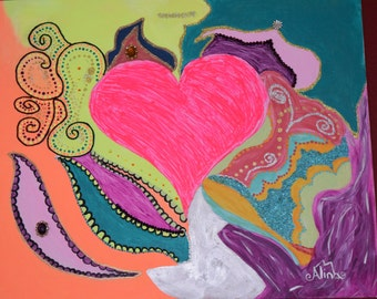LOVE mixed media acrylic painting