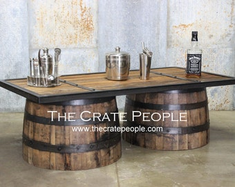 FREE SHIPPING - Whiskey Barrel Coffee Table -- Barrel Made Furniture -- Custom Made Furniture