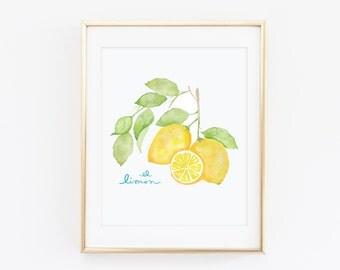 El Limon - Watercolor Lemon Branch - Citrus Print