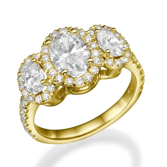 3 Stone Oval Diamond Ring 2 30 Carat VS Oval Cut Engagement