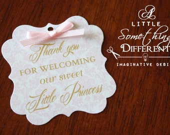 Little Princess Pink Damask Welcome Tag with Bow / Little Princess Pink Damask Favor Tag  / Little Princess Baby Shower Tag /