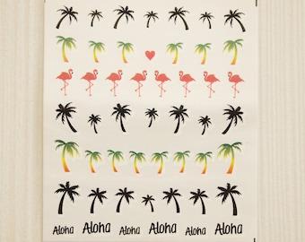 Tropical nail decals/ Beach nail decals/ Flamingo nail decals/ Palm tree nail decals/ nail art stickers/ Nail water decals/ Nail art/ yu665