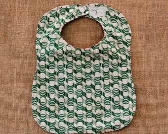 Green Candy Cane Print with Red and White Swirl Baby Bib