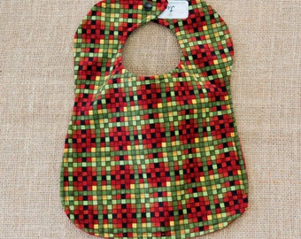 Red and Green Multi Color Checkered Cloth Baby Bib