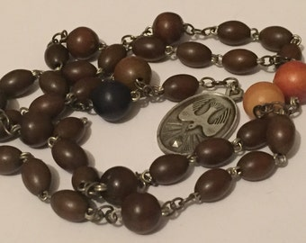 Vintage Wooden Bead And Metal Rosary