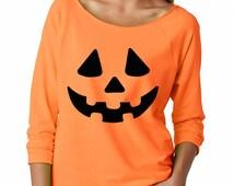 Happy Halloween Shirt Pumpkin Shirt Jack O Lantern Halloween Party Shirt Raw Edge Terry Slouchy Funny Halloween Shirt Oversized Sweatshirt