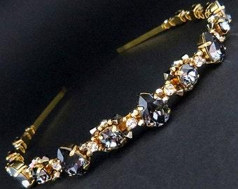 Swarovski  crystal headband, Silver night Swarovski  crystal  headband, Black wedding headband, gold crystal headband, tiara, gold crown