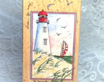 A Friendly Light Rubber Stamp by Stamps Happen, Wood  Large Lighthouse rubber stamp, Lighthouse stamp, D. Morgan STamp, Encouragement Stamp
