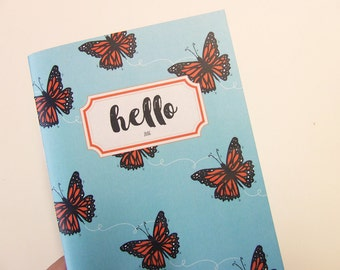 Monarch Butterfly Pattern Weekly Planner 2016/2017 - Monthly Agenda A6 - Handmade - Academic - Pocket Size