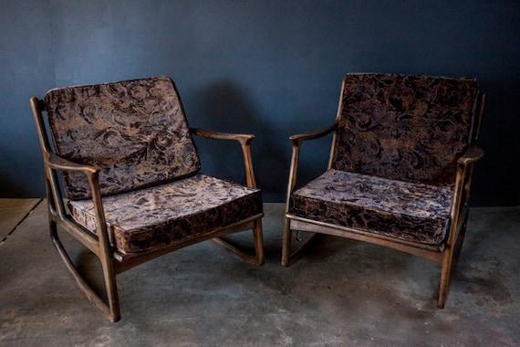 Vintage Danish Teak Rocking Chair Pair