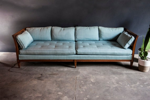 Vintage Mid Century Cane Turquoise Sofa Couch