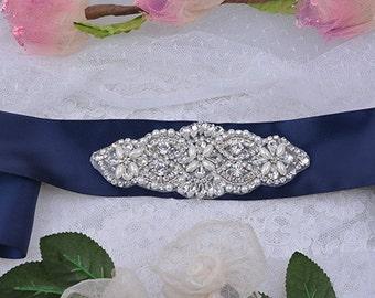 rhinestone beaded bridal sash, crystal bridal sash, navy blue wedding sash, bridal belt, wedding belt, CHLOE rhinestone beaded bridal sash