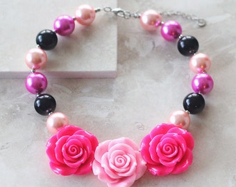 Girls Necklace -Triple Rose Necklace in Pinks, Hot Pinks and Black