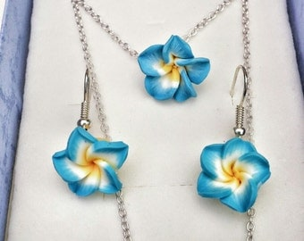 Hawaii Flower Necklace & Earring Set||Sterling silver Chain||Plumeria||Beach||Tropical||Summer||