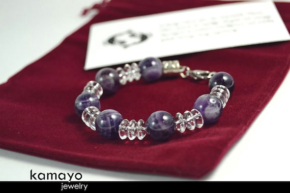 """PISCES BRACELET - Chevron Amethyst Beads and Clear Quartz - 7.25 Inches - Fits Wrist of Up to 5.6"""""""