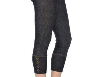Womens Leggings - Jean Capri Leggings
