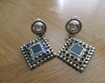 Vintage 1960's Mexican Style Clip Earrings
