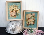 Vintage 1940's Framed Floral Art Prints - Georgia B Caldwell - Shabby Cottage Chic