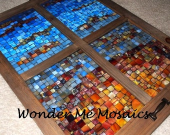 Stained Glass on Glass Mosaic - Sunrise in Four-Paned Window