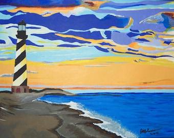 "Original Acrylic Landscape/ Seascape/ Lighthouse, North Carolina Painting Titled Cape Hatteras 12"" X 16"""