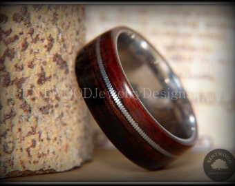 "Bentwood Ring - ""High Voltage"" Striped Kingwood Ring on Surgical Stainless Steel Core with Guitar String Inlay"