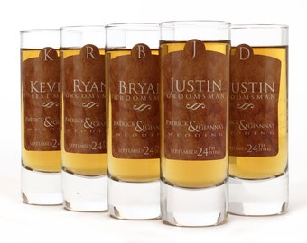8, Groomsmen Shot Glasses, Personalized Shot Glass, Tan Design